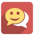Happy Chat Flat Rounded Square Icon with Long vector image vector image