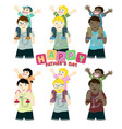 happy fathers day with 6 couples father son vector image
