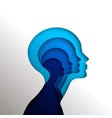 human head concept cutout for psychology vector image vector image