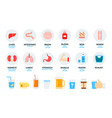 human organs and daily drink flat set with liver vector image