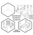 isometric bathroom interior constructor vector image