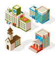 isometric pictures municipal buildings vector image vector image