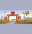 jurassic park gates with pointers to dinosaur area vector image vector image