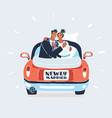 just married couple in car on white background vector image vector image