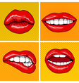 Lips Set in Retro Pop Art Style vector image