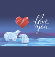 low poly polar bears sitting on ice vector image