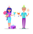man and woman celebration birthday gift boxes vector image vector image