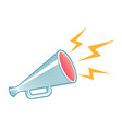 megaphone in engraving style with yellow lightning vector image vector image