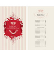 menu with floral ornaments and price list vector image vector image