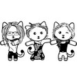 modern black and white kittens girl part 3 vector image vector image