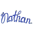 Nathan name lettering blue tinsels vector image vector image