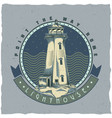 nautical t-shirt label design with lighthouse vector image vector image