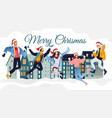 people santa hat fun merry christmas vector image vector image