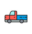 pickup truck pick-up car vehicle flat color line vector image