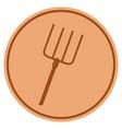 pitchfork bronze coin vector image vector image