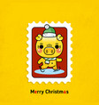 postage stamps pigs merry christmas vector image