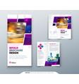 purple bi fold brochure design with square shapes vector image