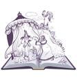 pushkin fairy tale of golden cockerel open book vector image vector image