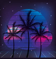 retro 80s palms style with graphic background vector image vector image