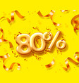 sale 80 off ballon number on yellow background vector image