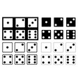 set of black and white dice vector image