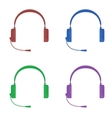 set of color headphones with vector image vector image