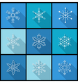 Set of nine snowflake flat icons vector image