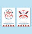 set vintage 4th july poster flyer template vector image