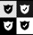shield with check mark icon isolated on black vector image vector image