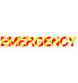 text emergency diagonal stripes red and yellow vector image vector image