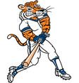 tiger sports logo mascot baseball vector image vector image