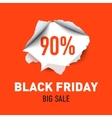 torn hole in sheet red paper black friday vector image