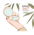 woman hand holding beauty mirror fashion style vector image