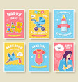 world breastfeeding week cards set kids elements vector image