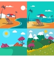 Summer Landscapes Set Seascape with Palm Trees vector image