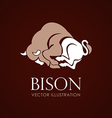 Bison sign brown background vector image vector image