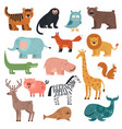 cartoon animals tiger monkey and bear elephant vector image vector image