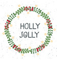 christmas wreath template and lettering holly vector image vector image