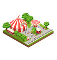 circus tent in park isometric composition vector image vector image