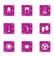 clean the house icons set grunge style vector image vector image