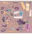 Colored hand drawn sewing icons set vector image