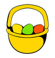 colorful easter eggs in basket icon vector image vector image