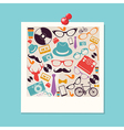 Colorful retro hipsters icons photo vector image vector image