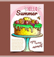 delicious cake decorated with fruits poster vector image vector image