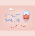 donate - save life banner world blood donor day vector image