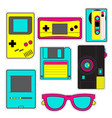 fashion patch badges with game photo camera vector image vector image