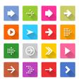 Flat arrow icon set square web button vector image