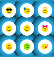 flat icon gesture set of happy caress hush and vector image vector image
