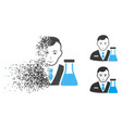 fragmented pixel halftone chemistry man icon with vector image