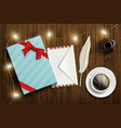 gift box with a letter in an envelope and a cup vector image vector image